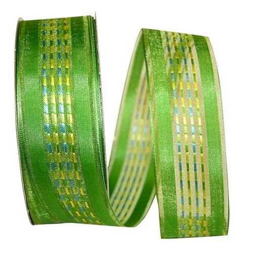 Green Sheer Stripe Ribbon