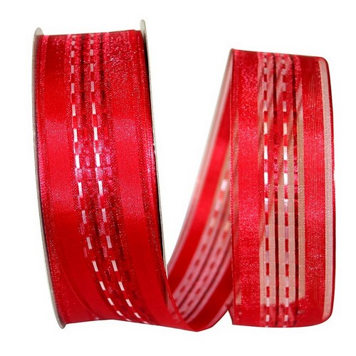 Red Sheer Stripe Ribbon