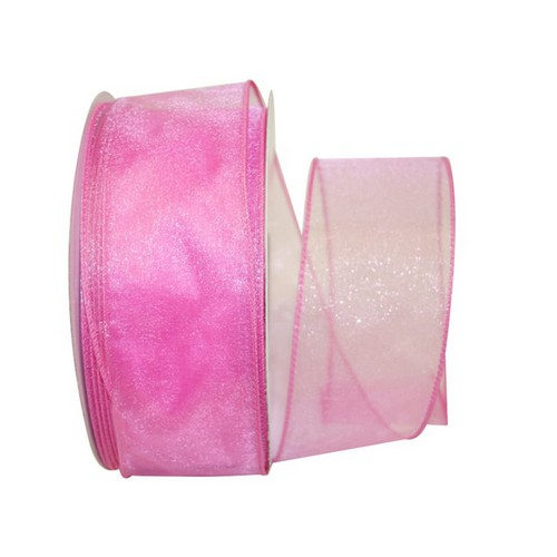 Pink Sheer Wired Ribbon