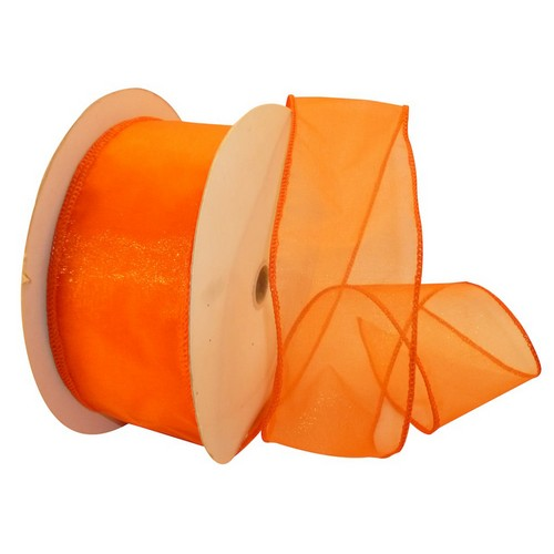 Orange Sheer Wired Ribbon