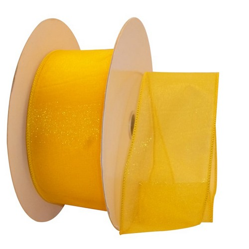 Yellow Sheer Wired Ribbon