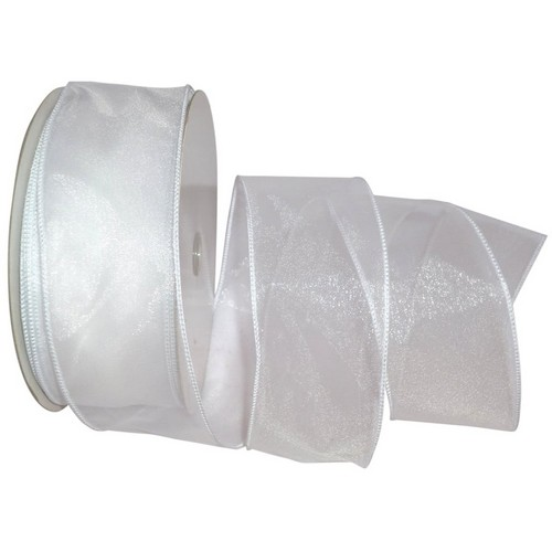 White Sheer Wired Ribbon