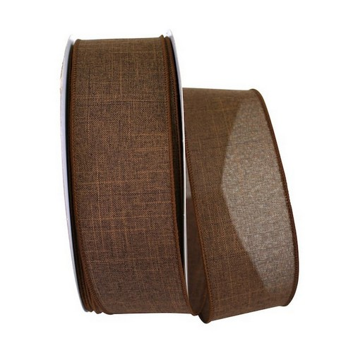 Brown Linen Wired Ribbon