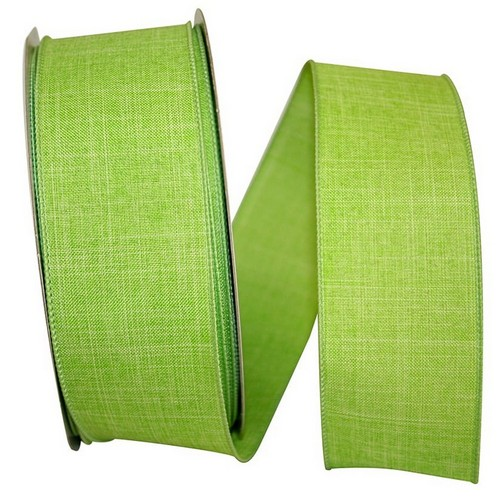 Green Linen Wired Ribbon