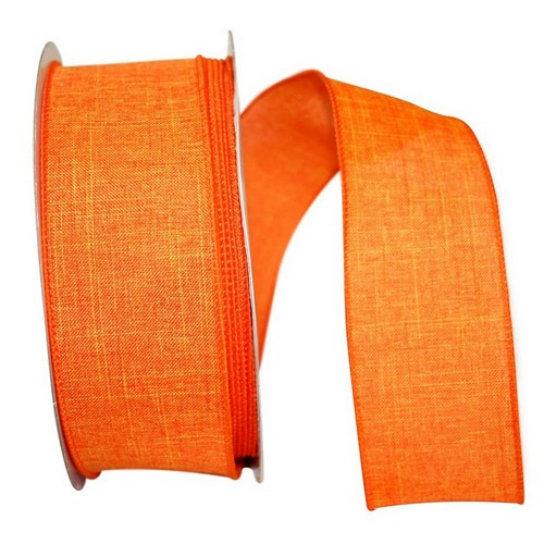 Orange Linen Wired Ribbon