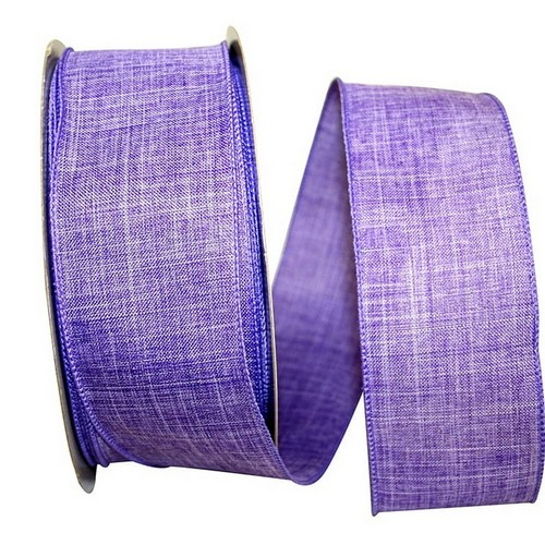 Purple Linen Wired Ribbon