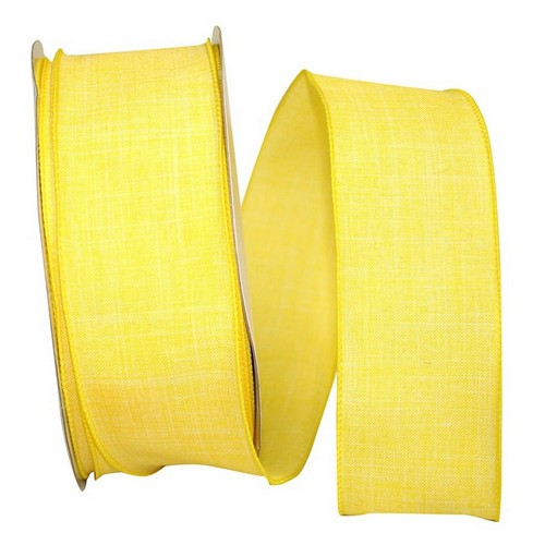 Yellow Linen Wired Ribbon
