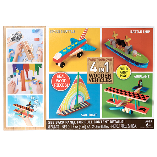 Paint Your Own 4-in-1 Wooden Vehicles Playsets