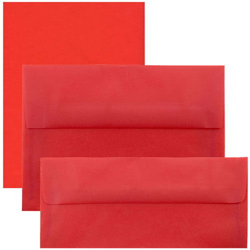 Red Translucent Vellum Envelopes & Paper