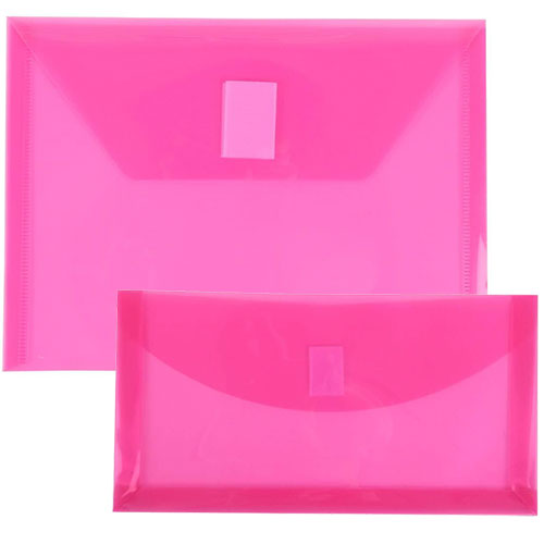 Pink Plastic Envelopes with VELCRO® Brand Closure