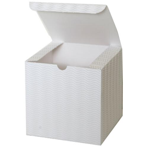 6 x 6 x 6 White Corregated Wave Open Lid Gift Box
