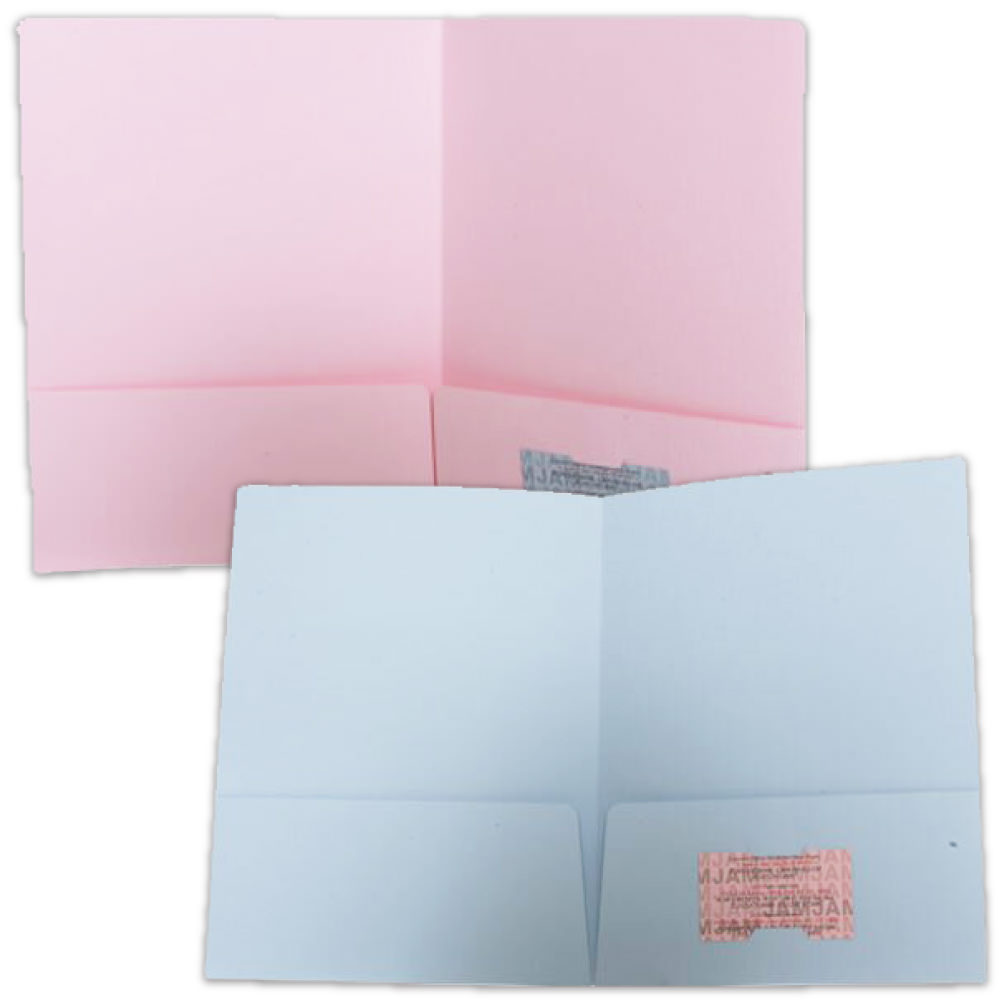 Baby Blue and Baby Pink Two Pocket Folders