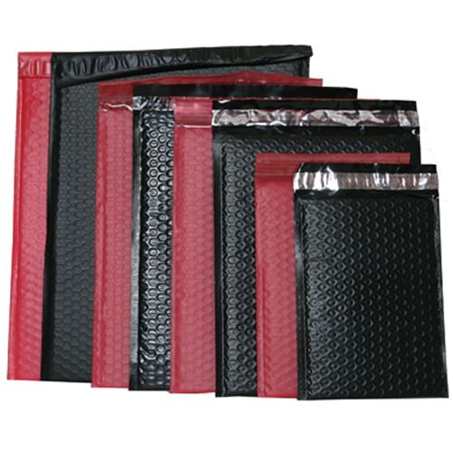 Black & Red Matte Bubble Mailers - Peel & Seal