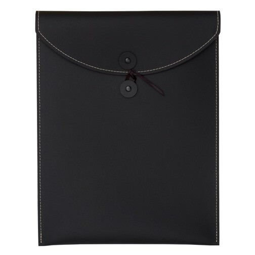 Black Leather Button & String Envelopes
