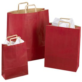 English Handle Red Kraft Gift Bags