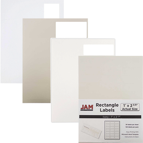 white ivory labels jam paper