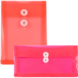 Red Plastic Button & String Closure Envelopes