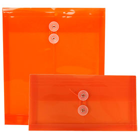 Orange Plastic Envelopes - Button String Closure