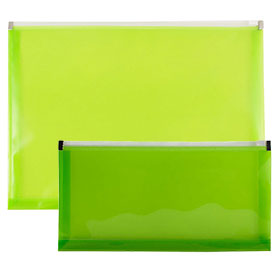 Green Plastic Envelopes with Zip Closure