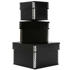 Black Nesting Boxes - Black Plastic & Black Kraft