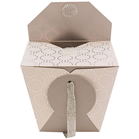 White Paper Chinese Containers with Silver Design