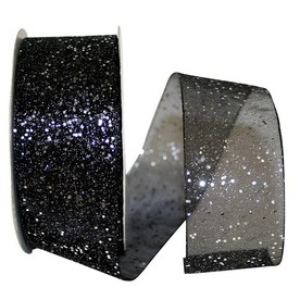 Black Sheer Glitter Ribbon