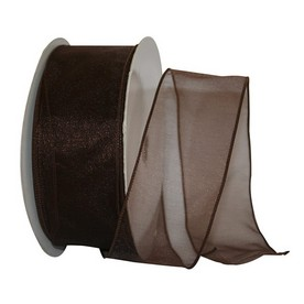Brown Sheer Wired Ribbon