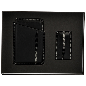Slim Leather Wallet Money Clip Set