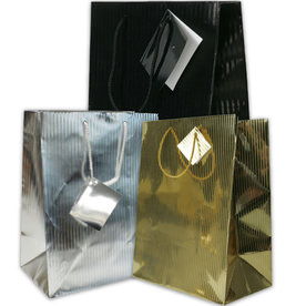 Vertical Pinstripe Foil Shopping Bags
