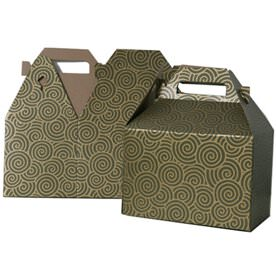 4 x 8 x 5 1/4 Green & Gold Swirl Gable Box