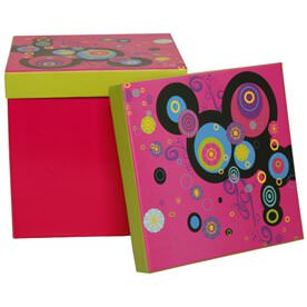7.75 x 7.75 x 7.75 Pink Box with Crazy Design Lid