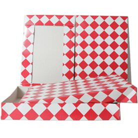 9 1/2 x 15 x 2 Red & White Diamond Box