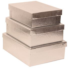 Silver Rectangle Gift Box Nesting Set