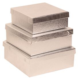 Silver Square Gift Box Nesting Set