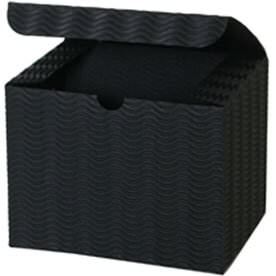 4 1/2 x 4 1/2 x 6 Black Corrugated Wave Gift Box