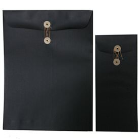Black Linen Paper Button & String Envelopes