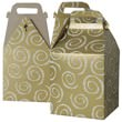8 x 7 1/4 x 8 Gold Swirl Gable Box with Handle