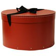 13 1/2 x 9 1/4 Red Hat Box with Black Ribbon