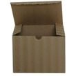 8 x 8 x 3 1/2 Kraft Corrugated Wave Gift Box - 1