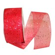Red Sheer Glitter Ribbon - 1