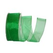 Green Sheer Wired Ribbon - 1
