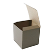 4 x 4 x 4 Open Lid Brown Rib Gift Box - 1